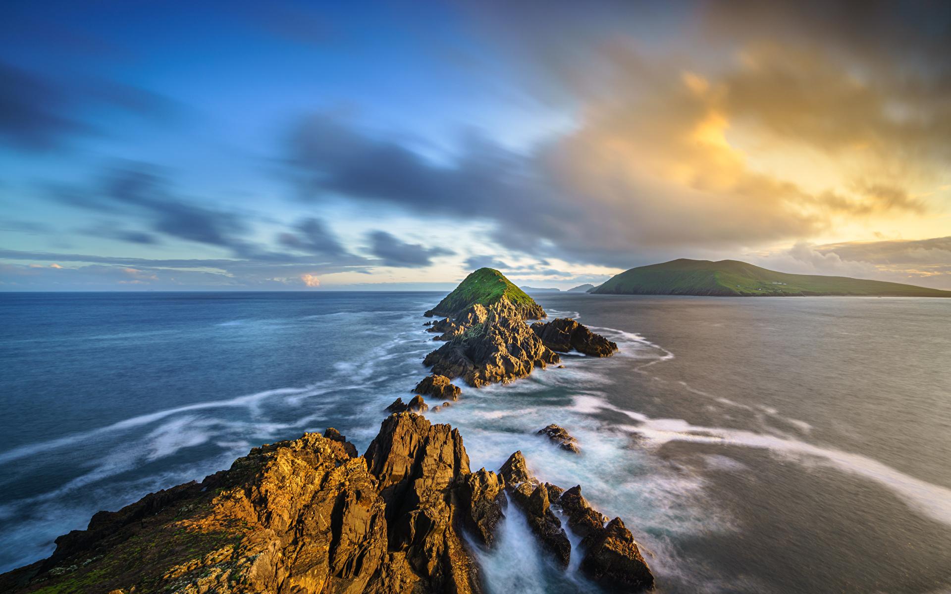 Fotos von Irland Kerry, Dunmore Head Natur Felsen Küste Wolke 1920x1200