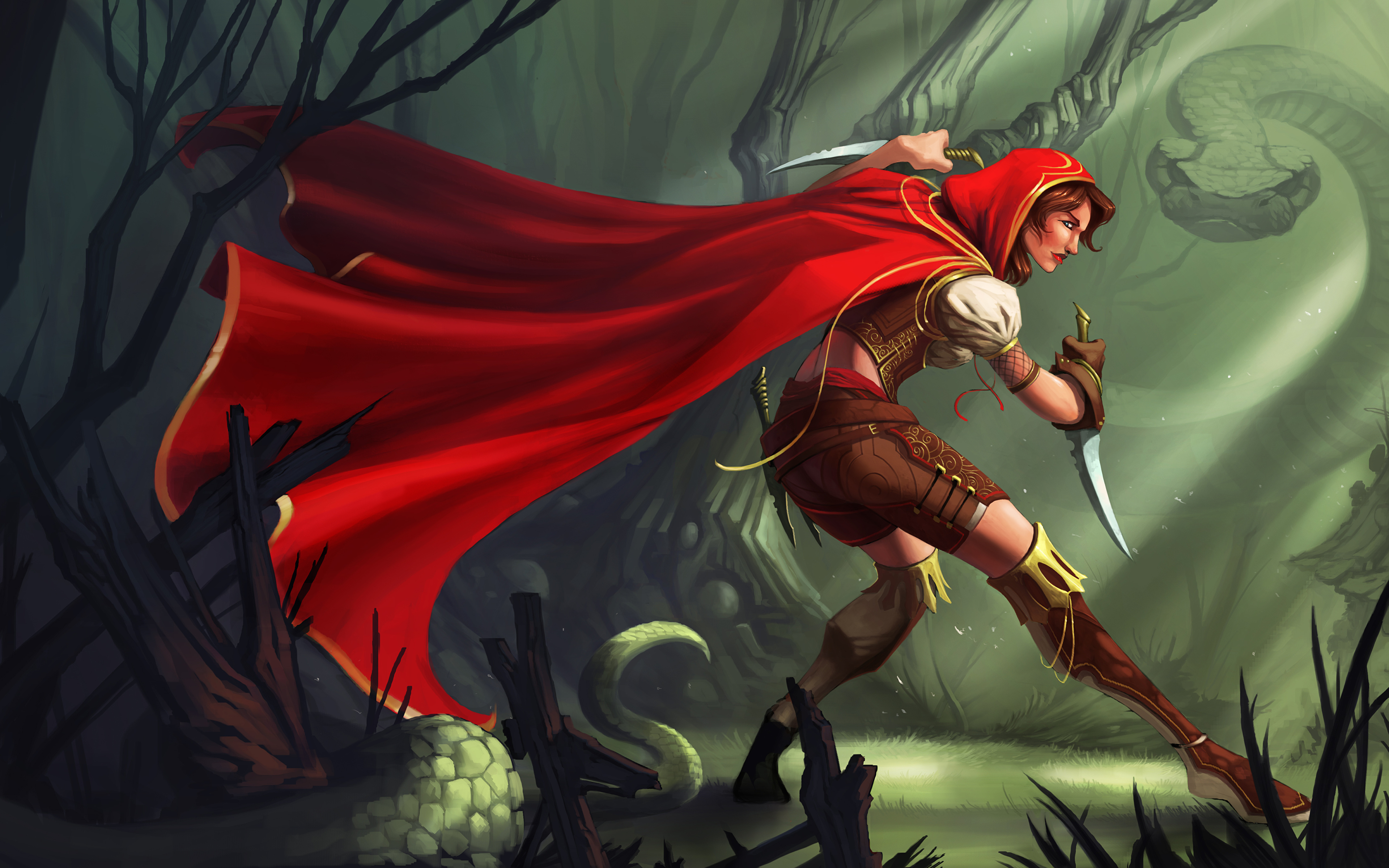 Picture Warrior Knife Fantasy Young Woman Cape Hood 3840x2400