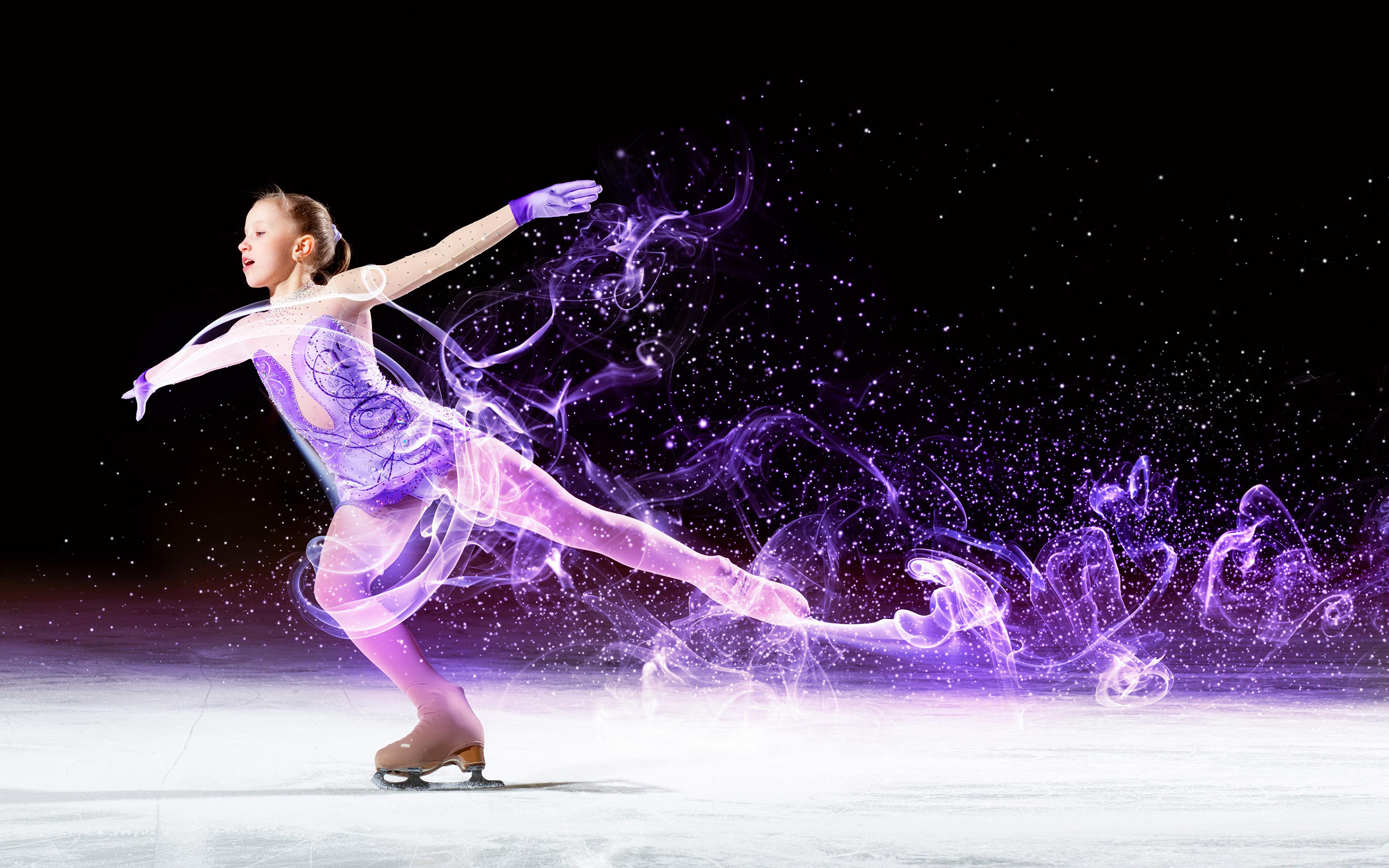 Image Little Girls Ice Skate Dancing Ice Children Athletic 3840x2400