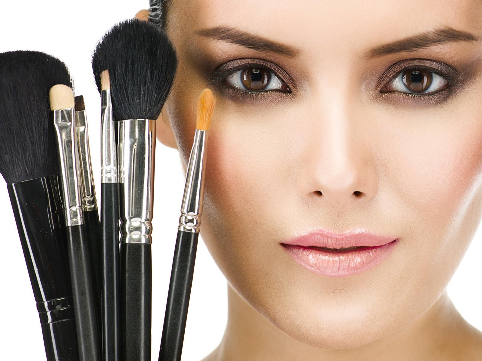 Fotos von Model Make Up Gesicht junge frau Pinsel Blick 1600x1200 Schminke Mädchens junge Frauen Starren