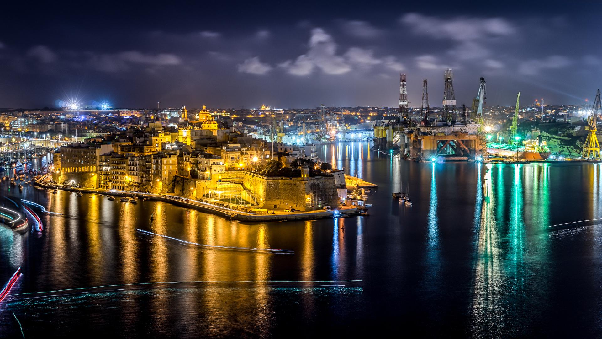 Photos Malta Cospicua Pier Night Rivers Street Lights 1920x1080 Images, Photos, Reviews