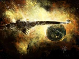 Photo Technics Fantasy Ships Planets Starship Fantasy Space