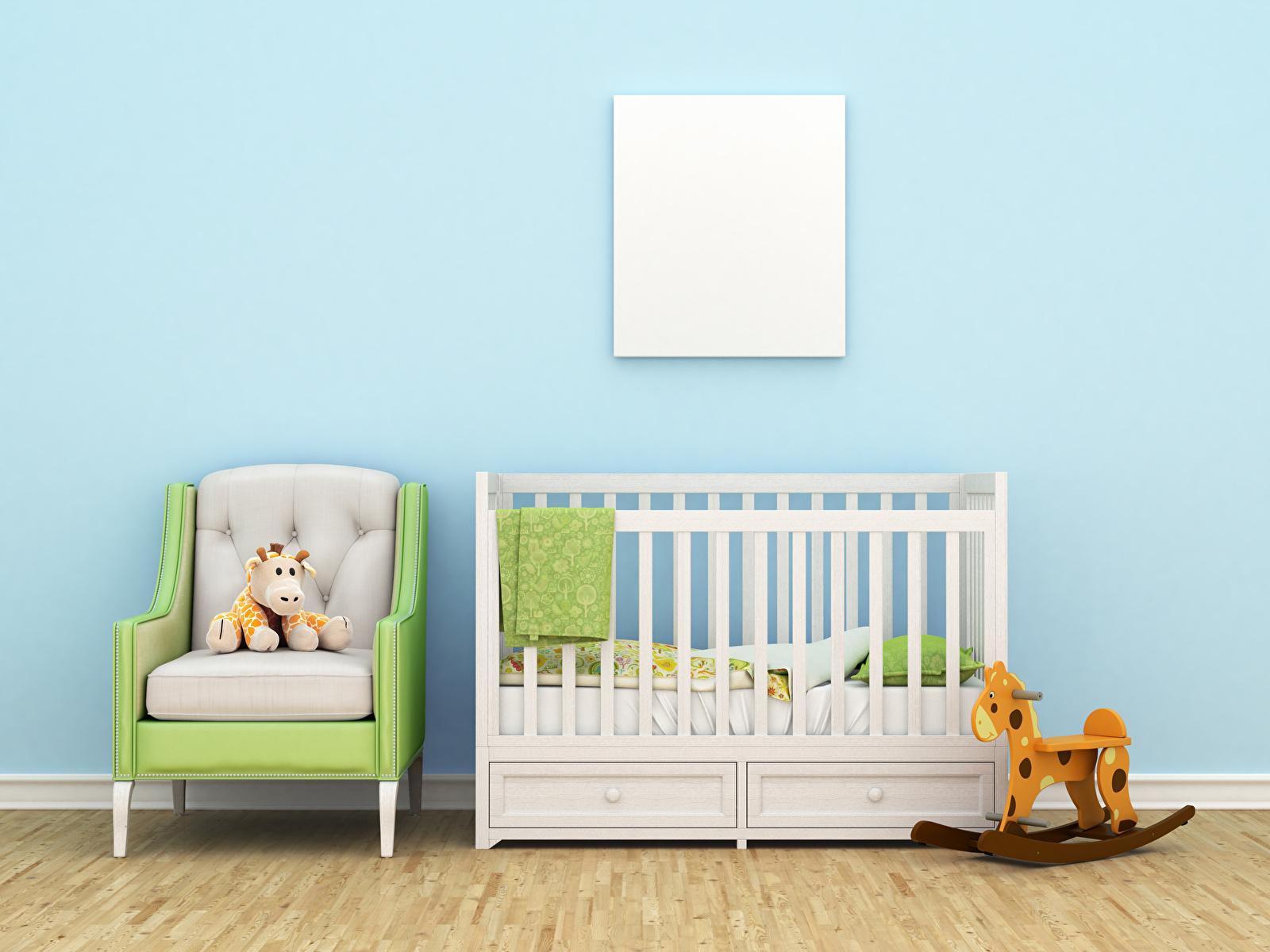 Bilder von Kinderzimmer Innenarchitektur Bett Sessel Spielzeuge Design 1600x1200