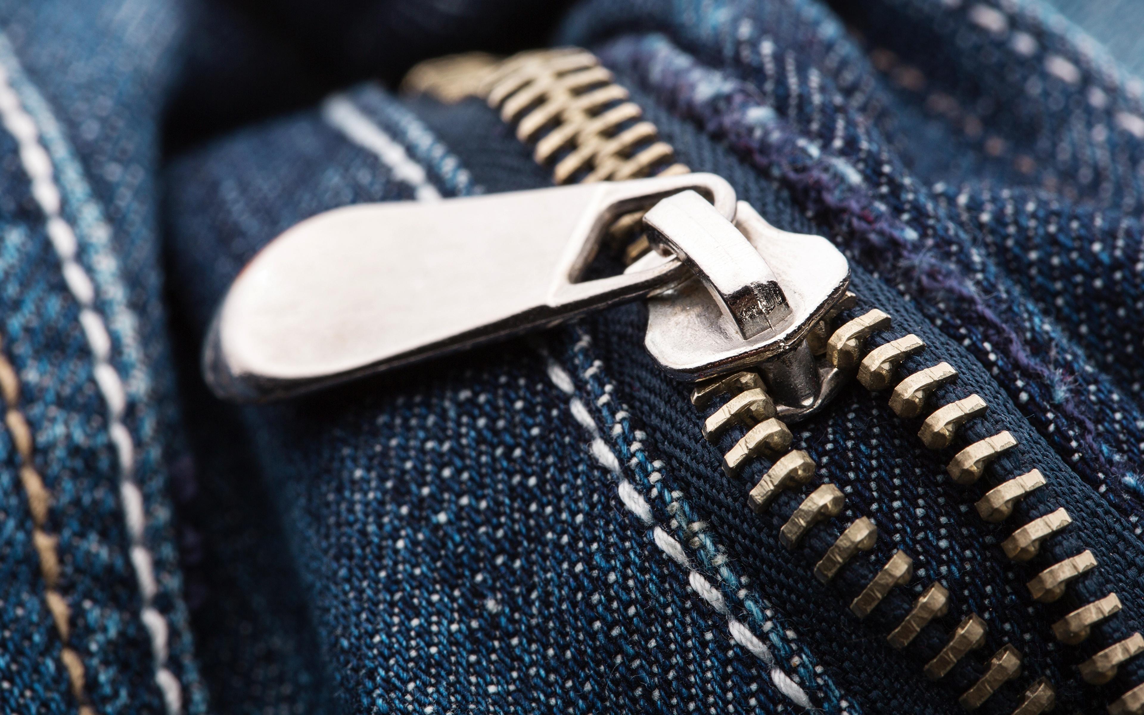 3840x2400、クローズアップ、接写、metal zipper、ジーンズ、、