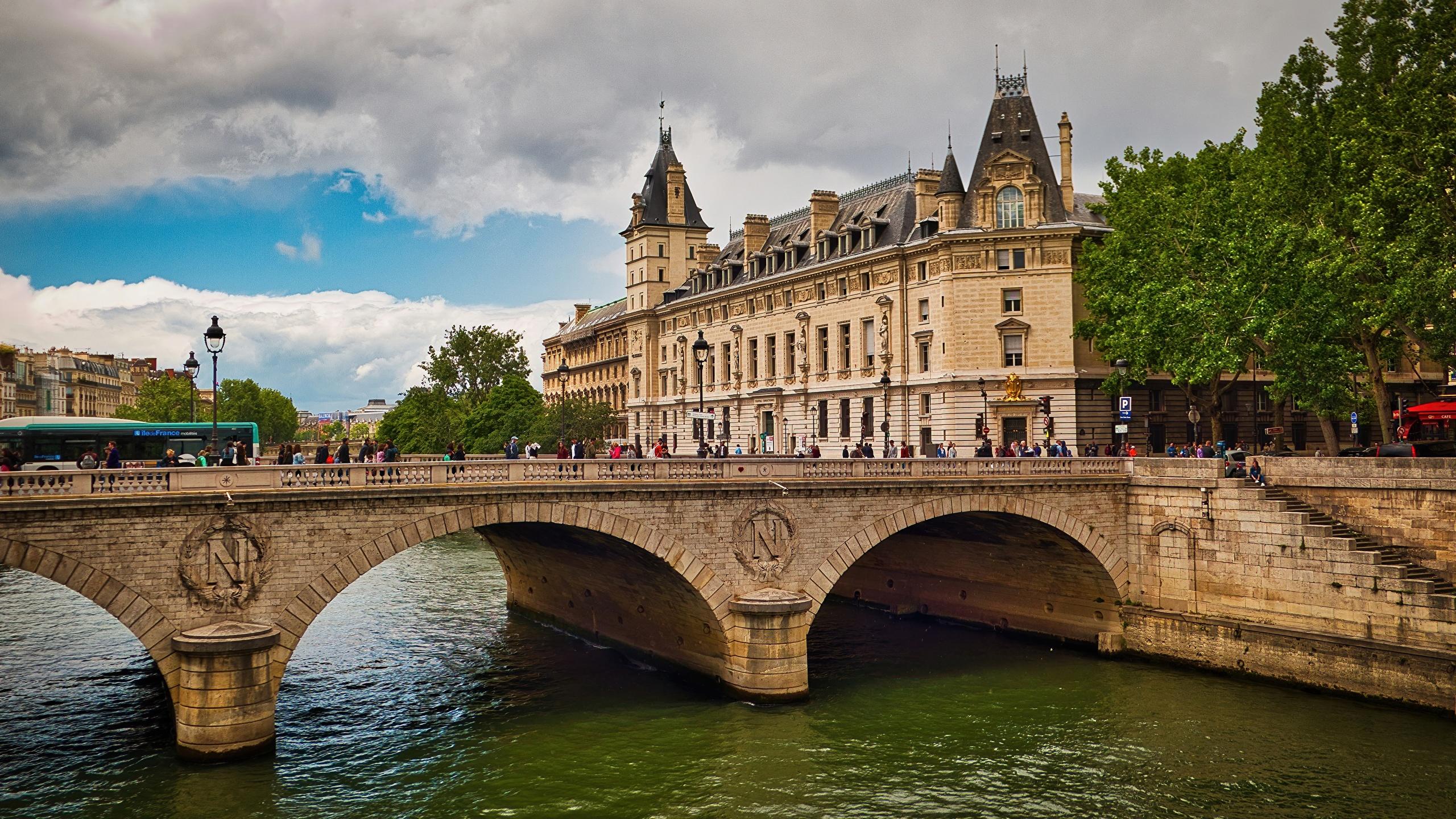 Foton Paris Frankrike Pont Saint Michel Bro Floder Stader 2560x1440
