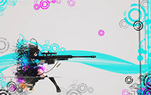 Bilder Vektorgrafik Scharfschützengewehr Scharfschütze Anime Mädchens Mädchens