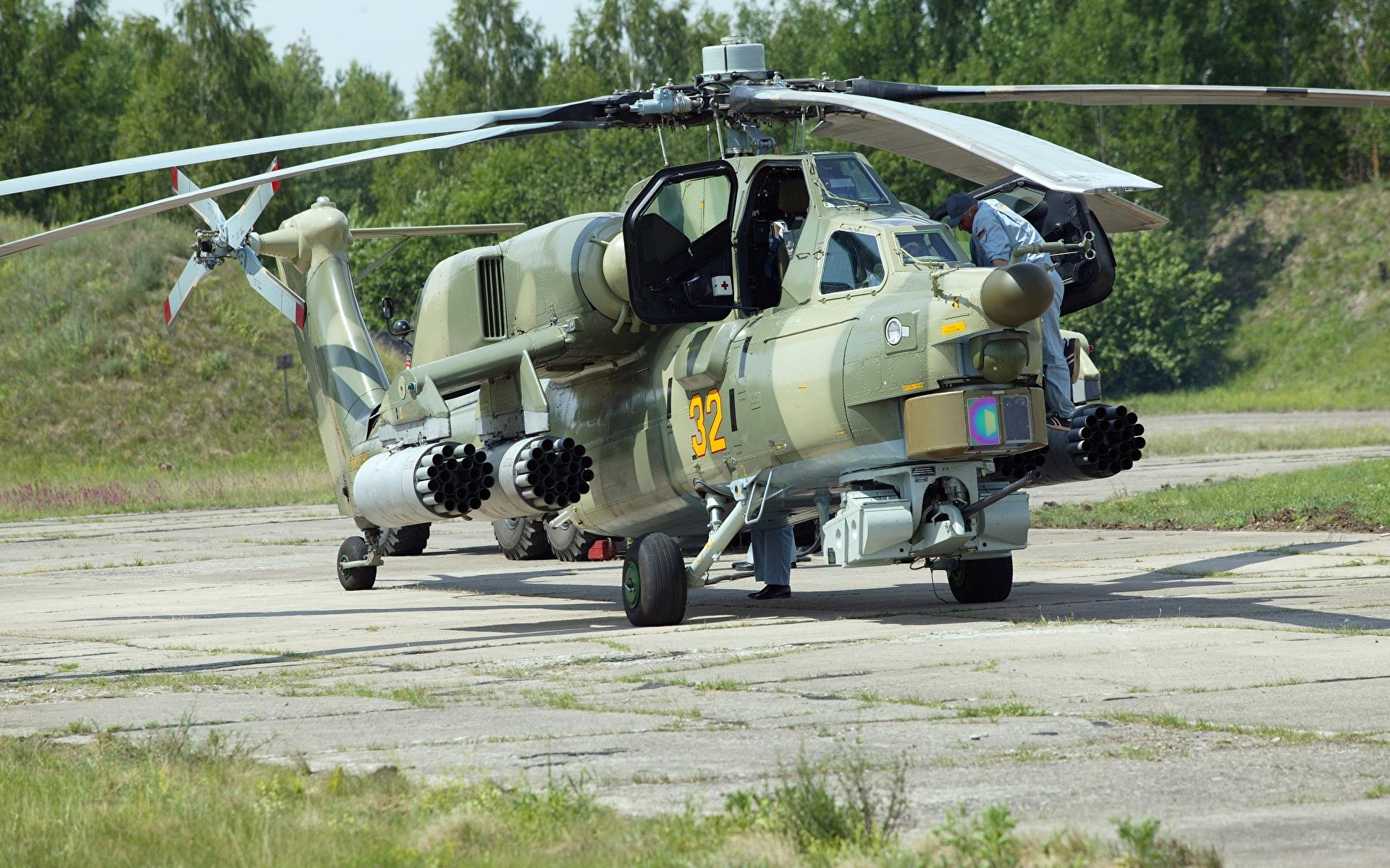 Afbeelding Helikopters Camouflage Russische Mi-28 Night hunter Luchtvaart 1920x1200 helikopter