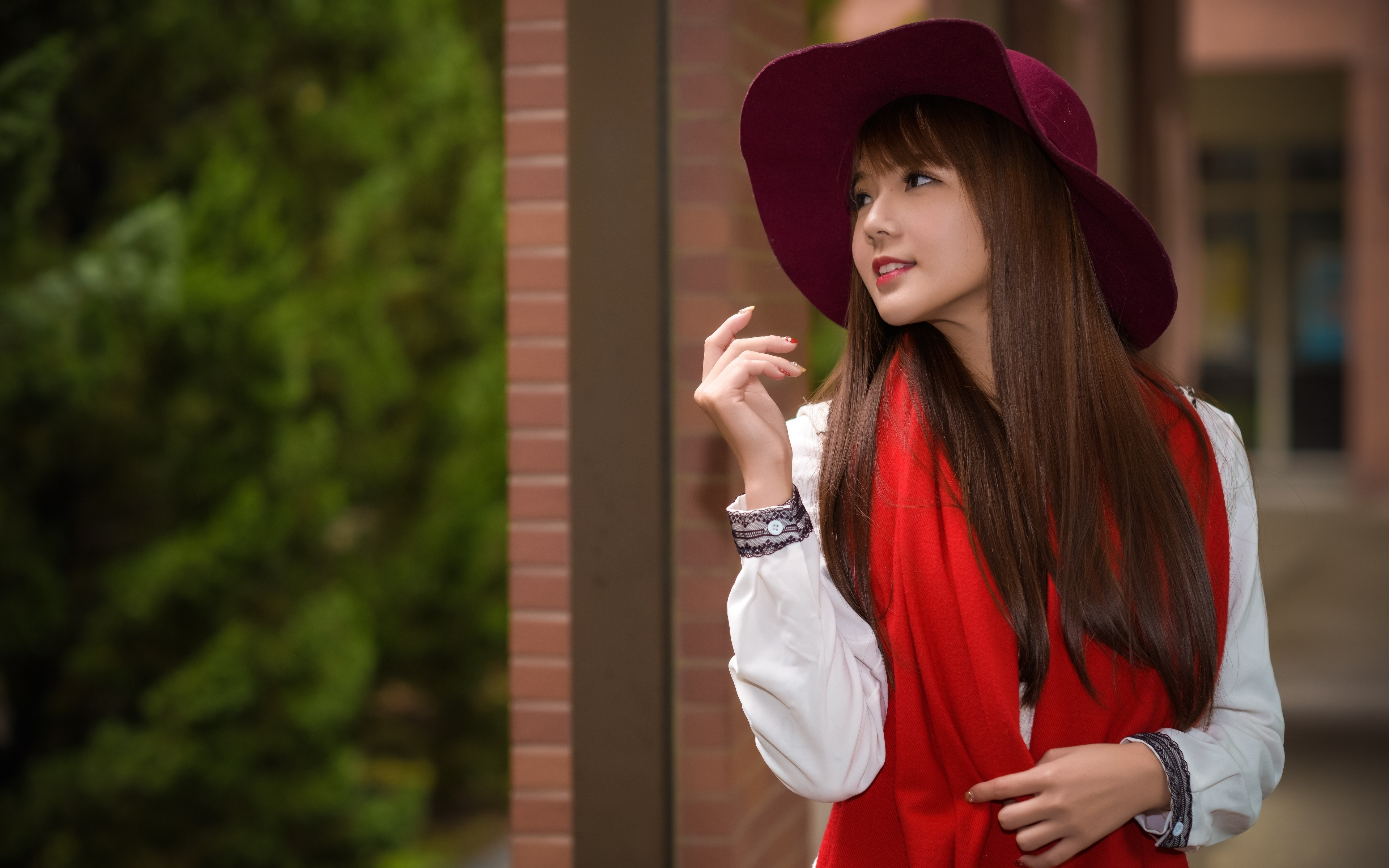 Images Brown haired Scarf Bokeh Hat Girls Asiatic Hands 3840x2400 blurred background female young woman Asian