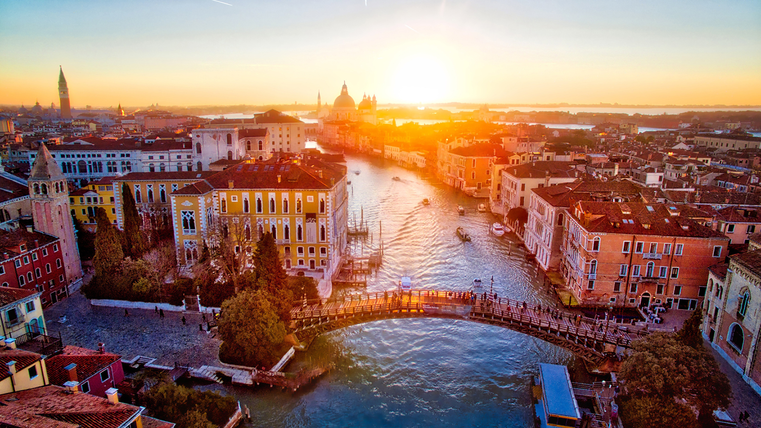 Wallpaper Venice Italy Bridge Sunrise And Sunset Rivers