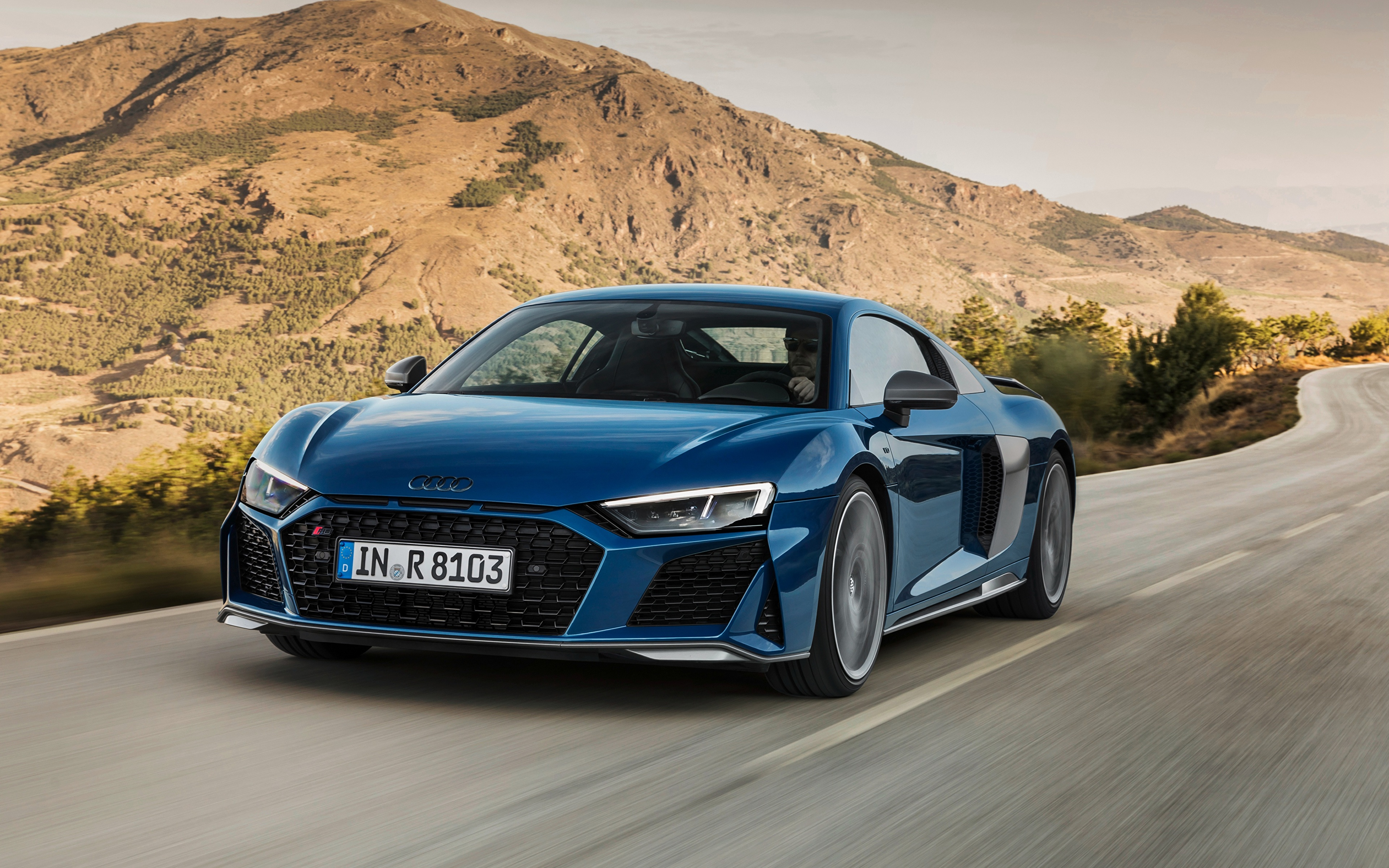 Picture Audi R8 2019 Blue riding Cars 3840x2400