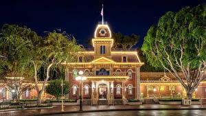 Hintergrundbilder USA Disneyland Straße Nacht Straßenlaterne HDRI Kalifornien Städte