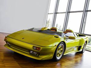 Hintergrundbilder Lamborghini Auto Scheinwerfer Vorne Hellgrüne Cabrio Luxus Roadster 1992 | Diablo Roadster Prototype Autos