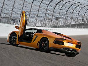 Hintergrundbilder Lamborghini Orange Luxus Roadster Aventador LP700-4 Roadster