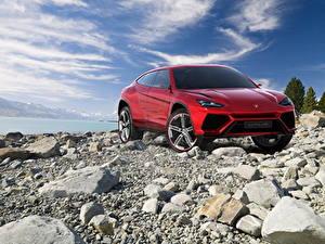Fotos Lamborghini Steine Rot Vorne Luxus 2012 Urus Autos