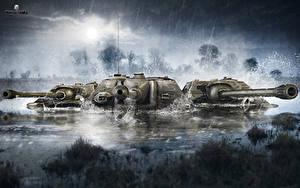 Bilder World of Tanks Panzer Regen Sumpf Drei 3 Spiele