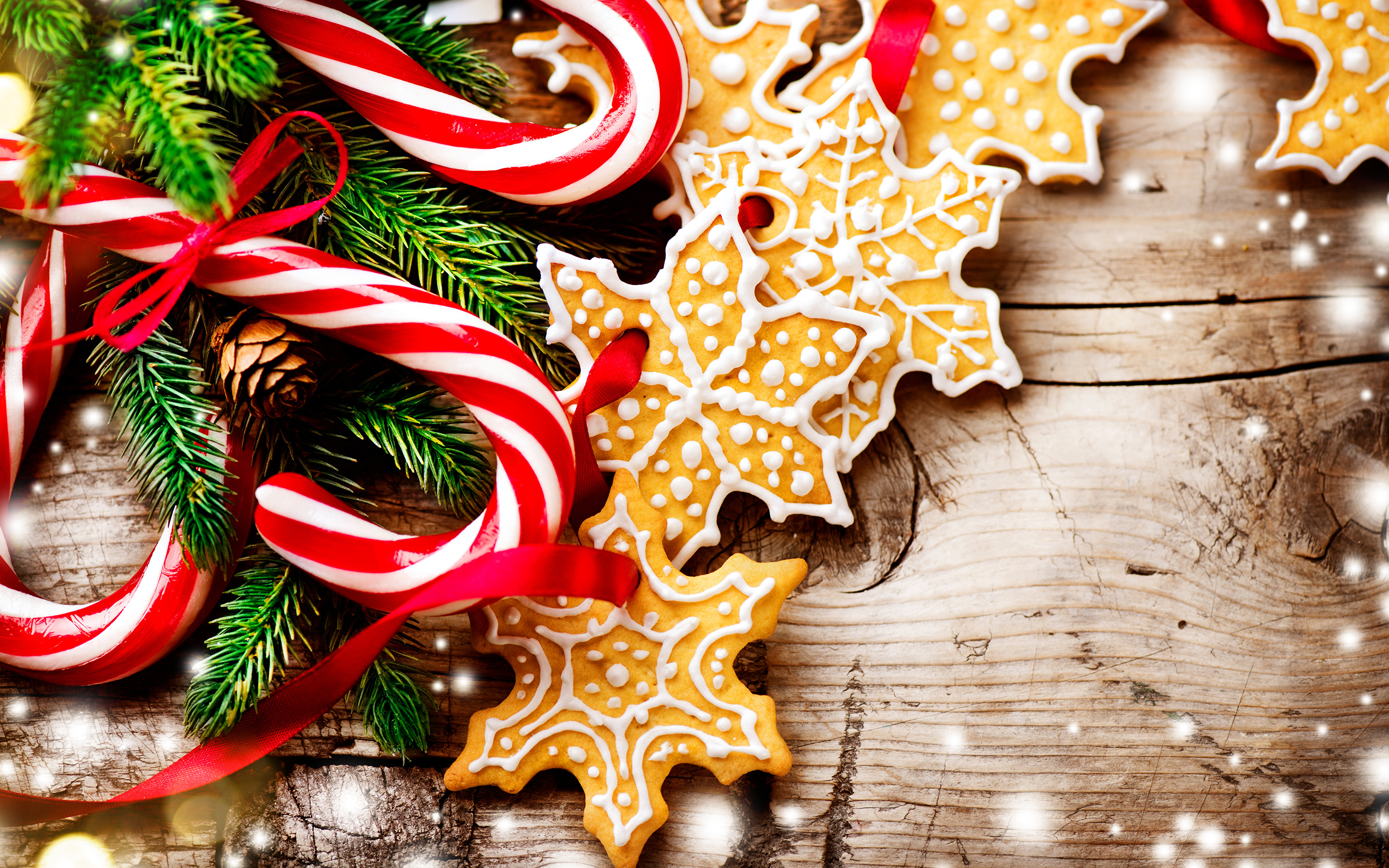 Pictures Christmas Candy Cane Lollipop Snowflakes Food 3840x2400