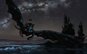 Fotos Drachenzähmen leicht gemacht Drache Flug Nacht