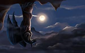 Bilder Drachenzähmen leicht gemacht Drache Mond Nacht Animationsfilm