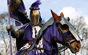 Bilder Mittelalter Pferde Ritter Rüstung Kopf Fantasy