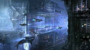 Wallpapers Fantastic world Ship Flight Fantasy Space