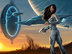 Pictures Warriors Ships teleport Fantasy Girls Space