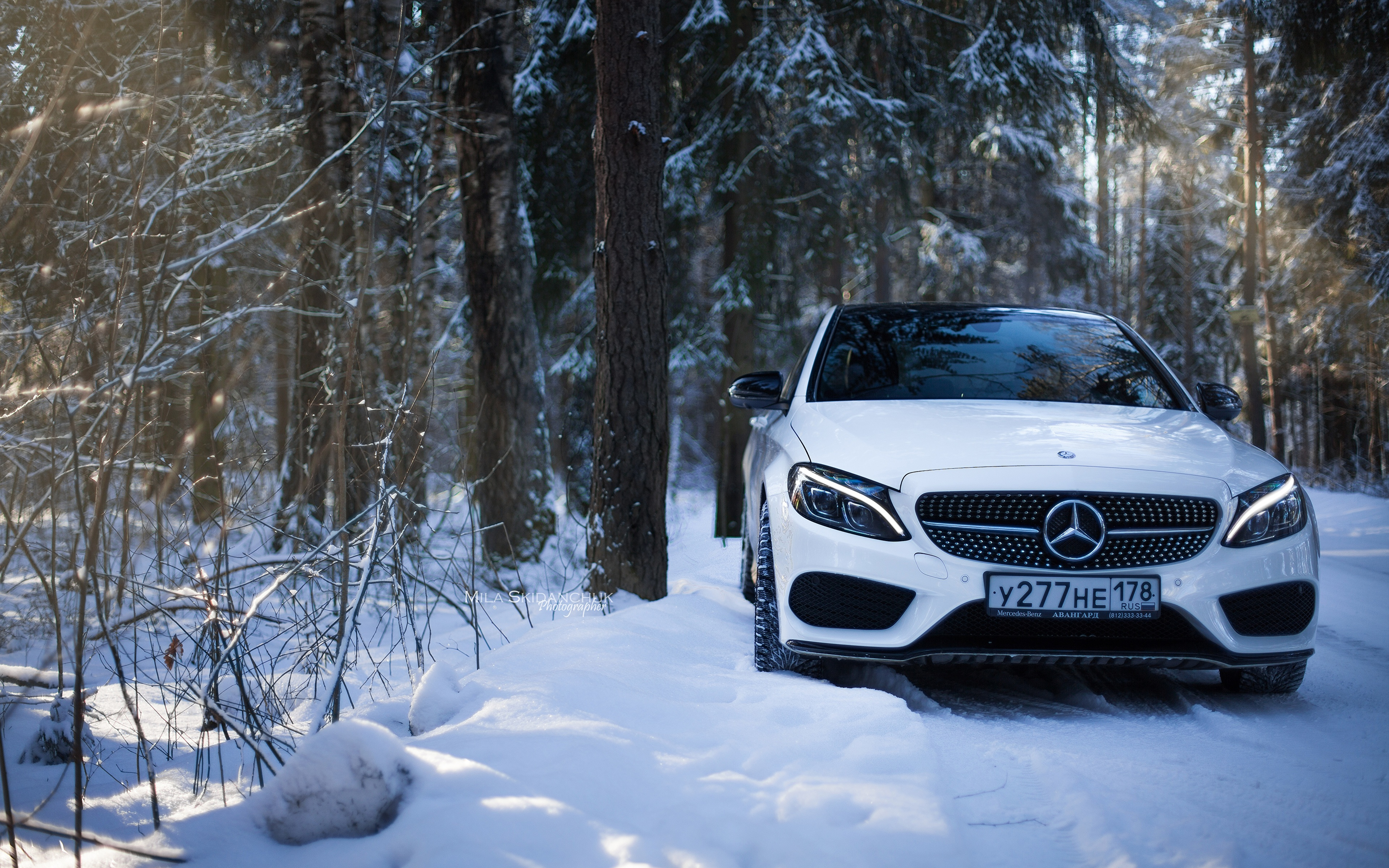 Images Mercedes Benz C63 Amg C450 White Snow Cars Front