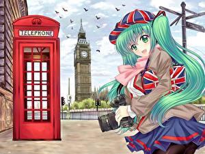 Bilder Vocaloid England Fotoapparat Baseballkappe Rock Big Ben Telefon Fotograf Anime Mädchens