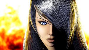 Bilder Blick Haar Brünette 3D-Grafik Mädchens