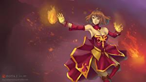 Hintergrundbilder DOTA 2 Krieger Magie Lina Rock Kleid Spiele Mädchens Fantasy