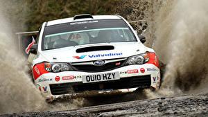 Bilder Subaru Vorne Spritzwasser Weiß Impreza Autos Sport