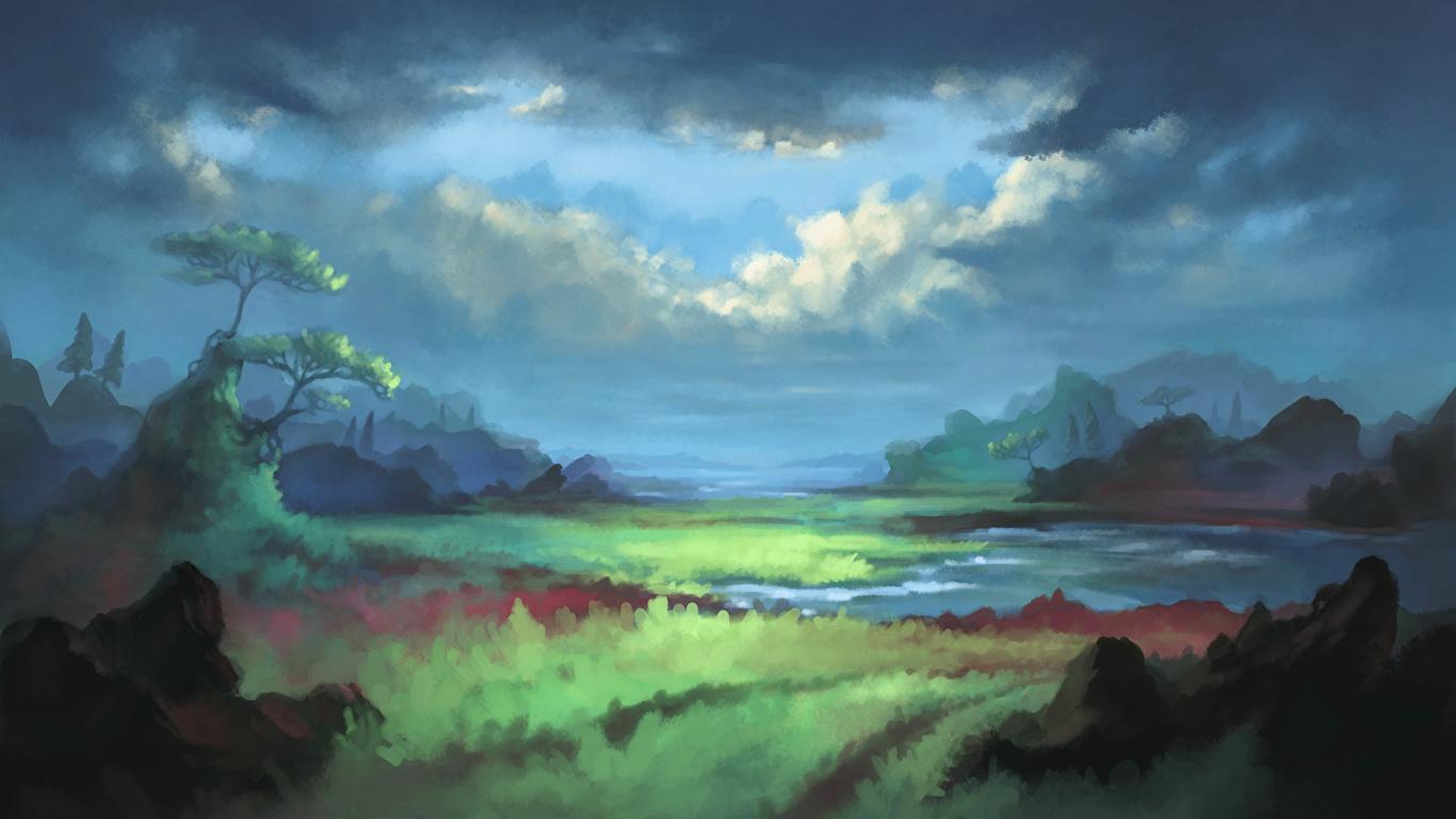 壁紙 1366x768 風景写真 描かれた壁紙 空 雲 自然 ダウンロード 写真