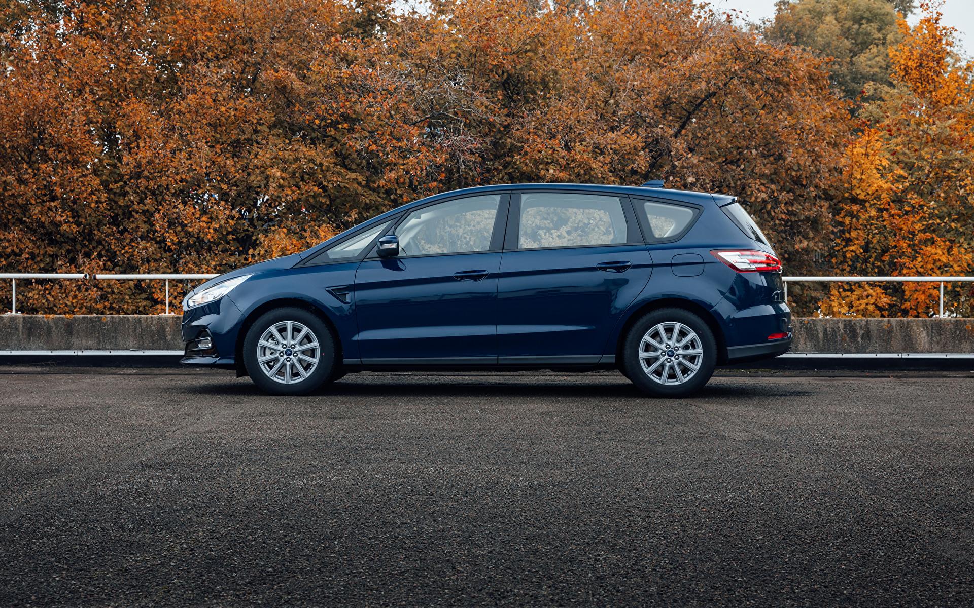 Bilder von Ford Kombi S-MAX, 2019 Blau Autos Seitlich Metallisch 1920x1200 auto automobil