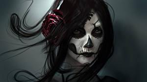Hintergrundbilder Gotische Gesicht Brünette Haar Fantasy Mädchens