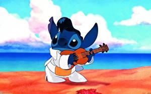 Papéis de parede Disney Lilo & Stitch Guitarra Cartoons