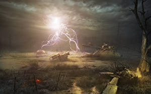 Fotos STALKER Hubschrauber Blitz Nacht Sumpf Fantasy