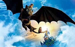 Papéis de parede Como Treinares o Teu Dragão Dragões Céu Voo Asa Nuvem Fantasia 3D_Gráfica