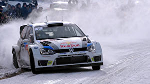 Bilder Volkswagen Vorne Schnee Polo Autos Sport