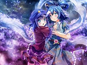 Fotos Kimono Rock Zwei Anime Mädchens