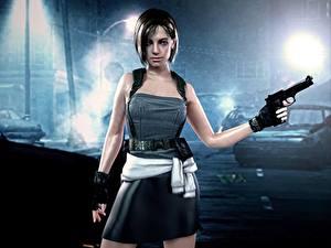 Hintergrundbilder Resident Evil Pistolen Krieger Kleid Rock Nacht Spiele Mädchens 3D-Grafik