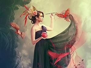 Fonds d'écran Oiseau Les robes Fantasy Filles