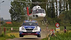Hintergrundbilder Skoda Hubschrauber Vorne Fabia Autos Sport