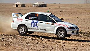 Hintergrundbilder Mitsubishi Weiß Seitlich Lancer Autos Sport