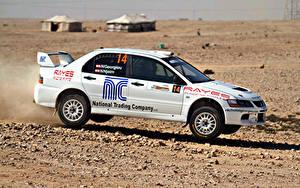 Hintergrundbilder Mitsubishi Weiß Seitlich Lancer automobil Sport