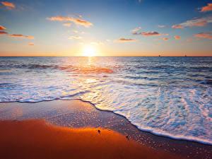 Hintergrundbilder Meer Sonnenaufgänge und Sonnenuntergänge Wasser Himmel Strände Horizont Sonne Natur