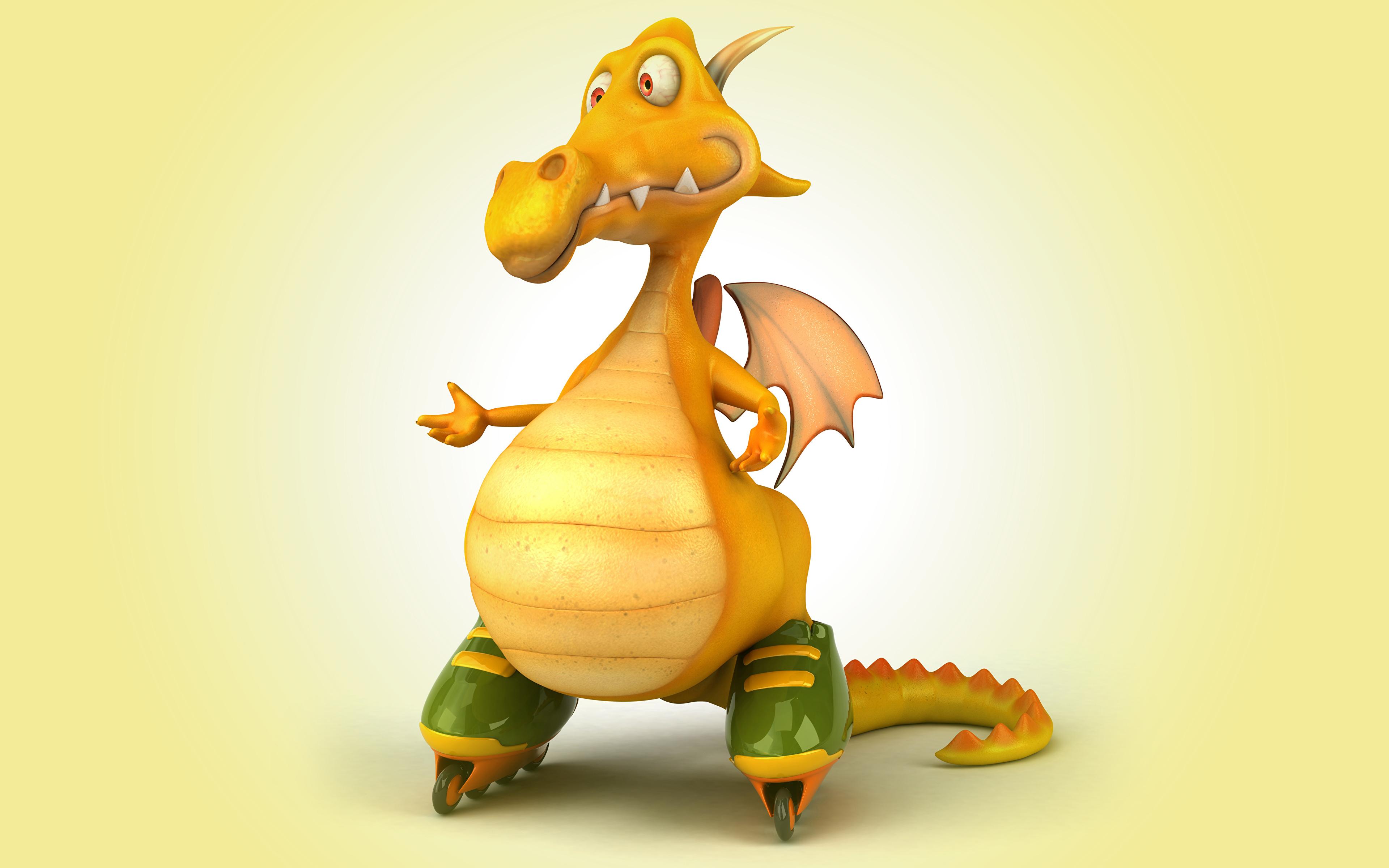 Fonds Decran 3840x2400 Dragons Patins à Roulettes 3d