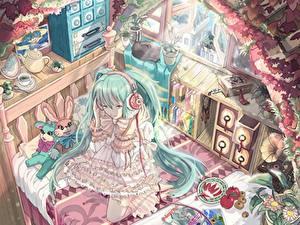Fonds d'écran Vocaloid Casque audio Les robes Lit Anime Filles