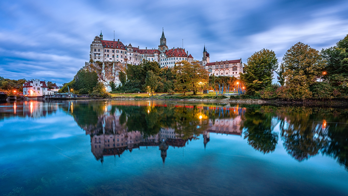 Image Germany Sigmaringen Castle castle Reflection river Cities 1366x768 Castles reflected Rivers
