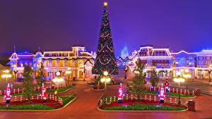 Bilder USA Disneyland Neujahr Park Gebäude Kalifornien Anaheim HDRI Nacht Straßenlaterne Stadtstraße Weihnachtsbaum Städte