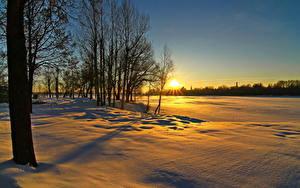 Fotos Jahreszeiten Winter Sonnenaufgänge und Sonnenuntergänge Sonne Schnee