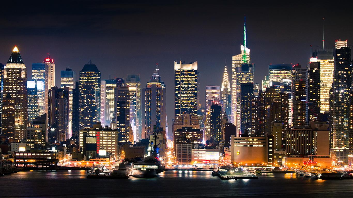 Image New York City Usa Night Cities 1366x768
